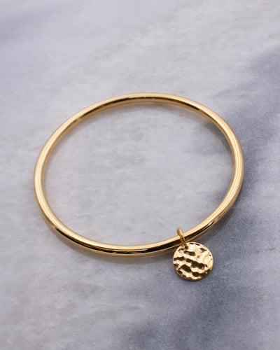 Hammered Coin Charm Bangle
