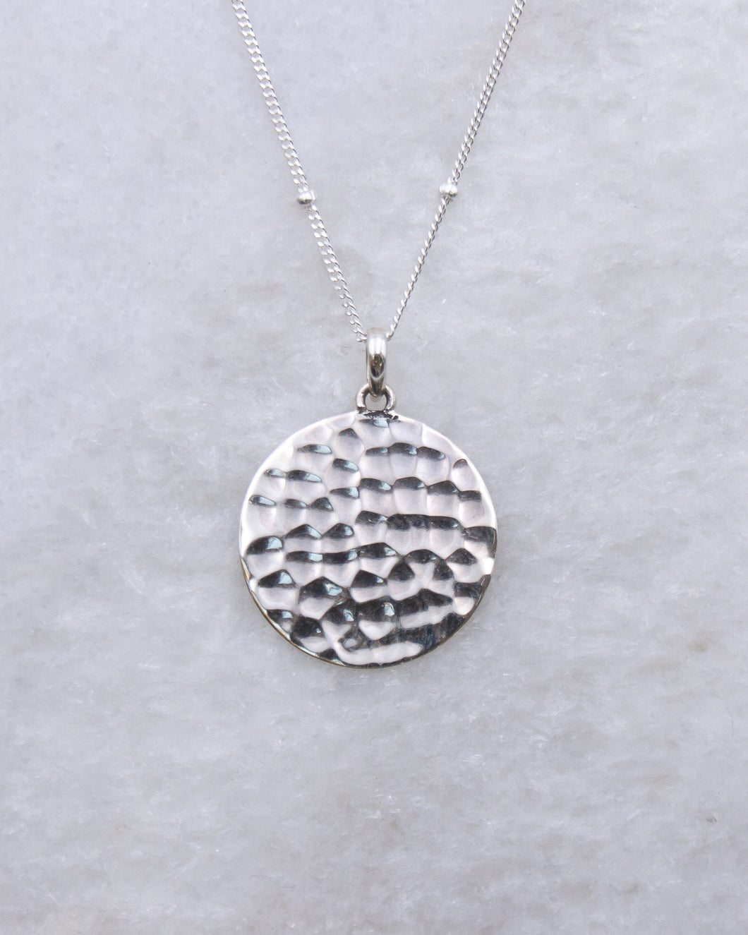 Hammered Coin Pendant Necklace