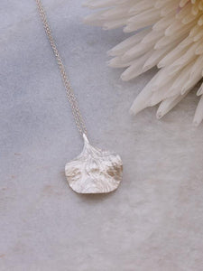 Textured Petal Pendant Necklace