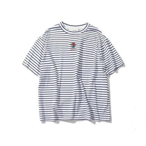 S7 Rose Embroidered Striped Mens Tee