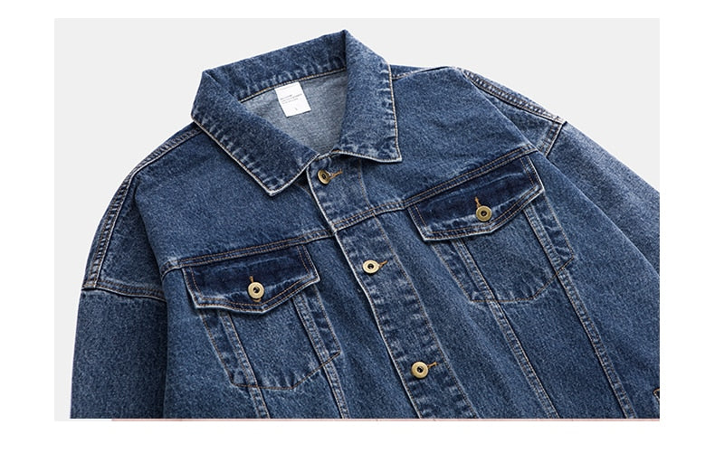 Oversized Denim Jacket with Yellow Patch Detail