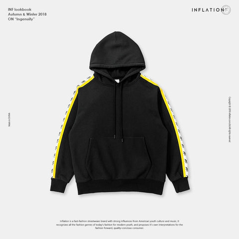 Fleeced Hoodie with Sleeve Detail