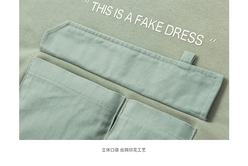 """this is a fake dress"" Worn Hoodie with Chest Pocket Detail"