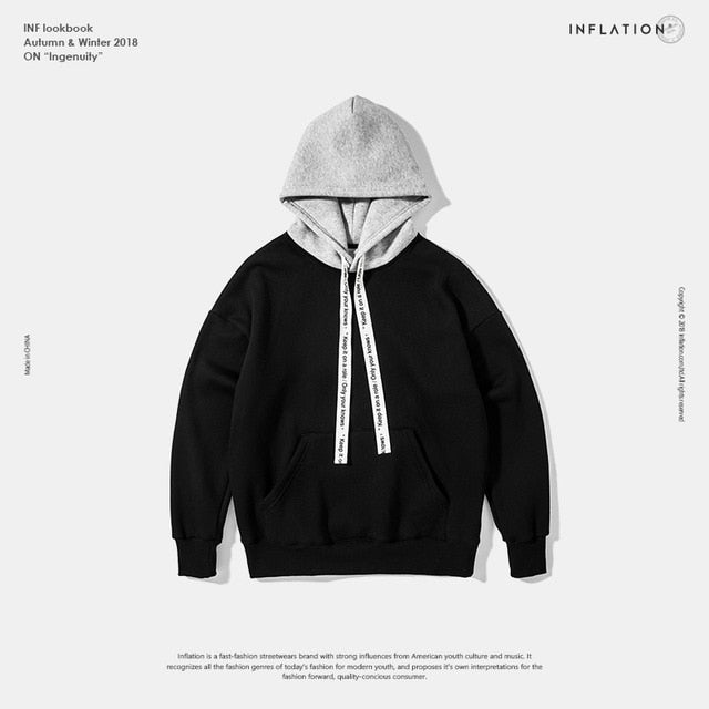 Split Colour Hoodie with String Detail