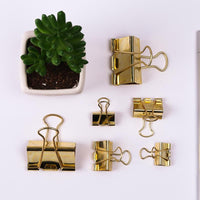 3pcs/lot Solid Color Gold Metal Binder Clips Notes Letter Paper Clip Office Supplies