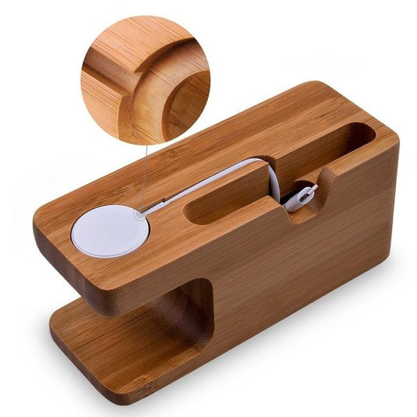 Bamboo Smart Watch and Phone Cradle