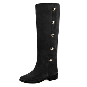 Amarillide suede, black - wide calf boots, large fit boots, calf fitting boots, narrow calf boots