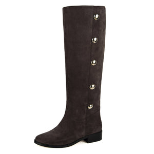 Amarillide suede, dark brown - wide calf boots, large fit boots, calf fitting boots, narrow calf boots