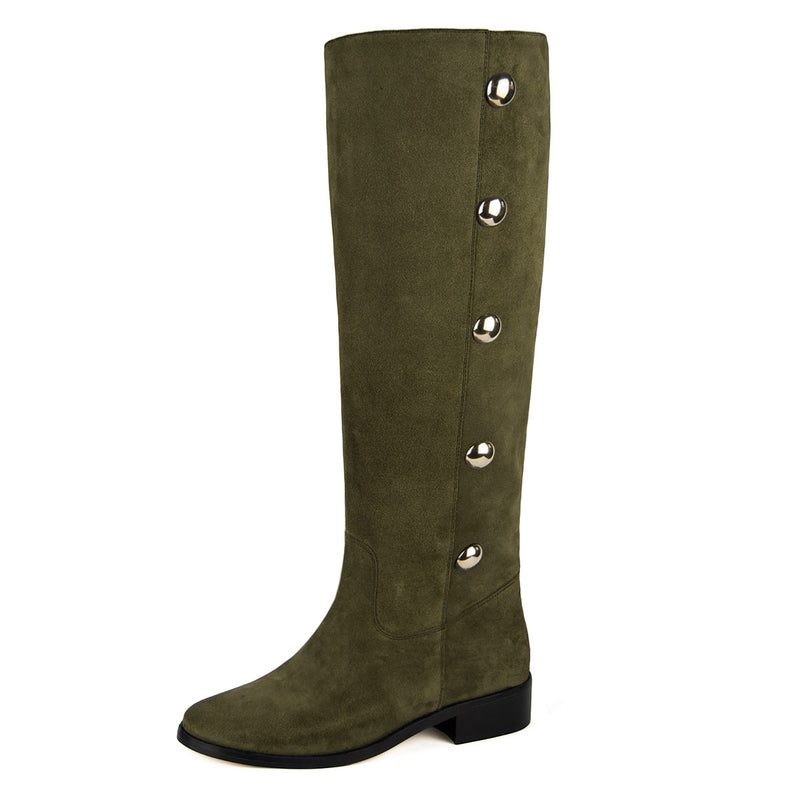 Amarillide suede, olive green - wide calf boots, large fit boots, calf fitting boots, narrow calf boots
