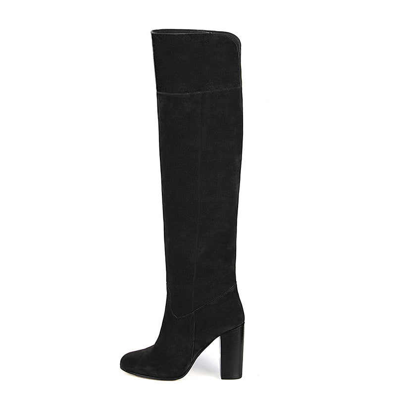 Lunaria suede, black - wide calf boots, large fit boots, calf fitting boots, narrow calf boots
