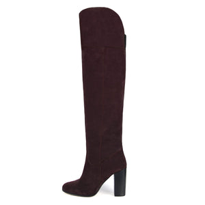 Lunaria suede, burgundy - wide calf boots, large fit boots, calf fitting boots, narrow calf boots