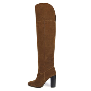 Lunaria suede, cognac - wide calf boots, large fit boots, calf fitting boots, narrow calf boots