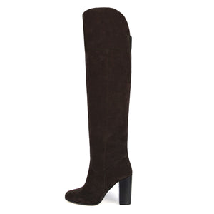 Lunaria suede, dark brown - wide calf boots, large fit boots, calf fitting boots, narrow calf boots