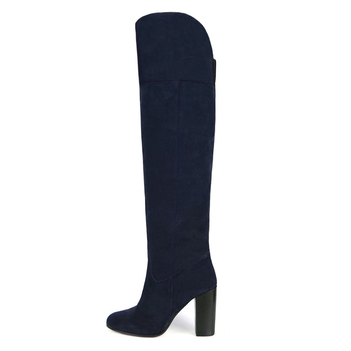 Lunaria suede, night blue - wide calf boots, large fit boots, calf fitting boots, narrow calf boots