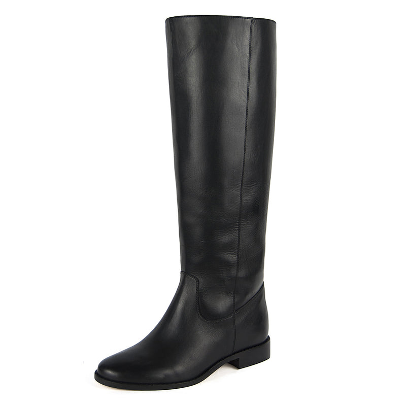 Dalia, black - wide calf boots, large fit boots, calf fitting boots, narrow calf boots