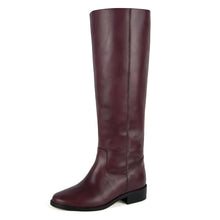 Dalia, burgundy - wide calf boots, large fit boots, calf fitting boots, narrow calf boots