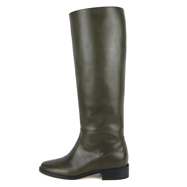 Dalia, olive green - wide calf boots, large fit boots, calf fitting boots, narrow calf boots