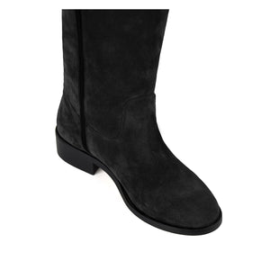 Mora suede, black - wide calf boots, large fit boots, calf fitting boots, narrow calf boots