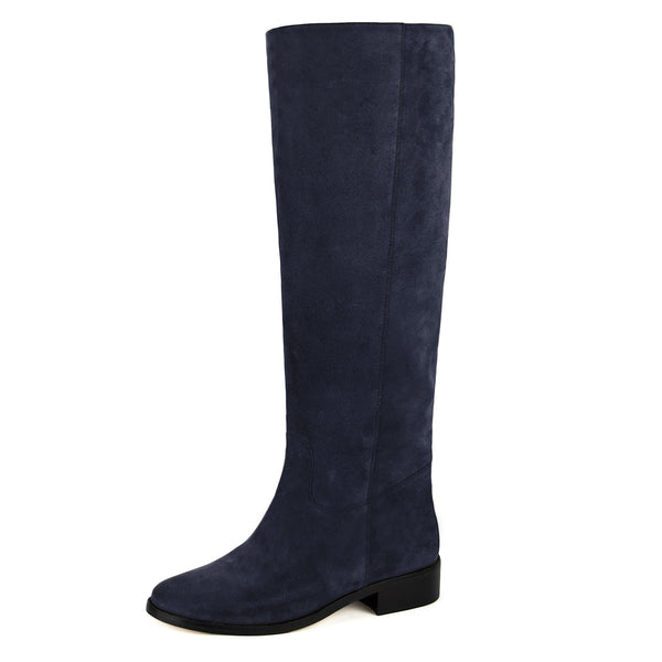 Dalia suede, night blue - wide calf boots, large fit boots, calf fitting boots, narrow calf boots