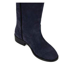 Amarillide suede, night blue - wide calf boots, large fit boots, calf fitting boots, narrow calf boots