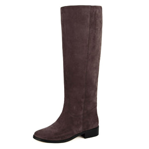 Dalia suede, dark brown - wide calf boots, large fit boots, calf fitting boots, narrow calf boots