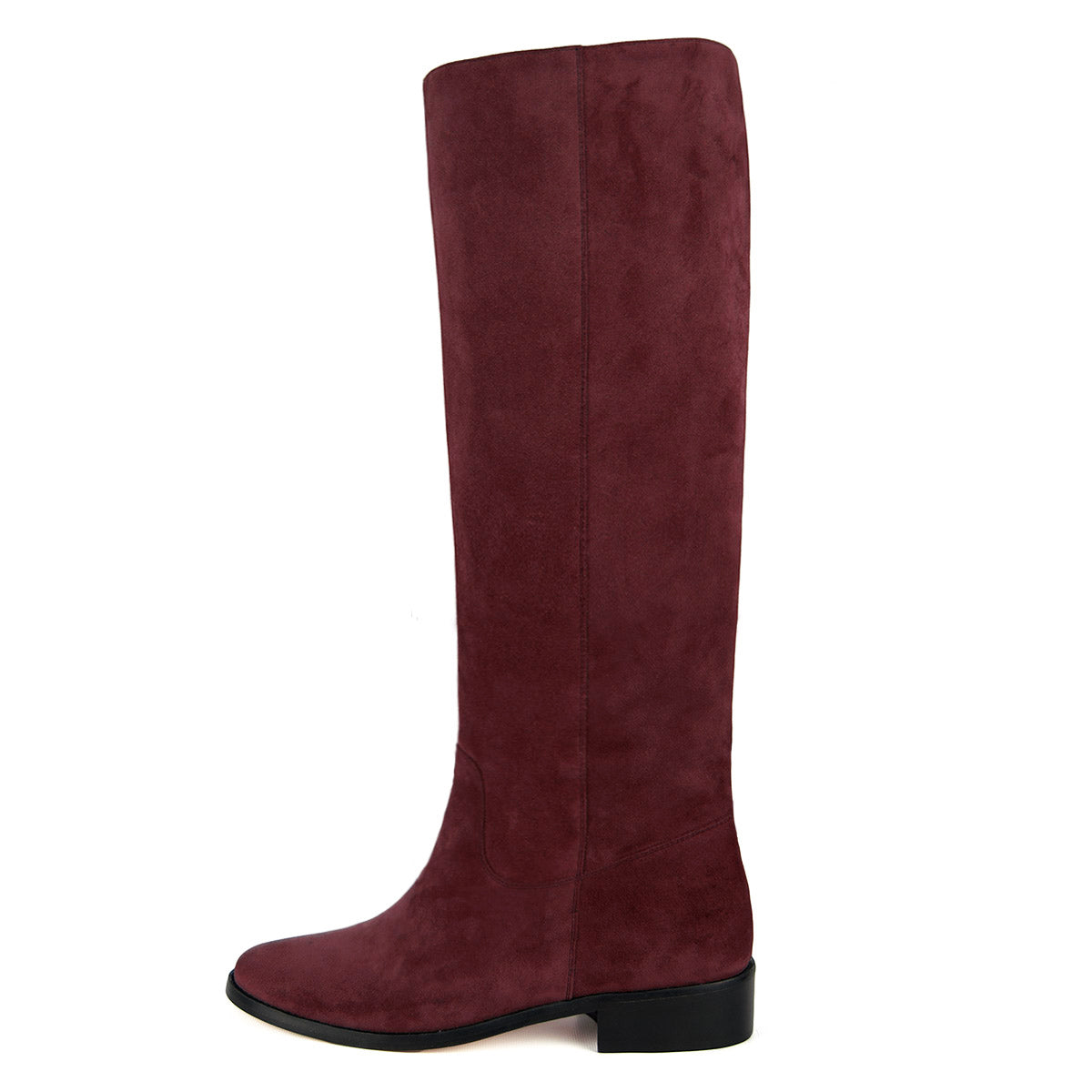 Dalia suede, burgundy - wide calf boots, large fit boots, calf fitting boots, narrow calf boots