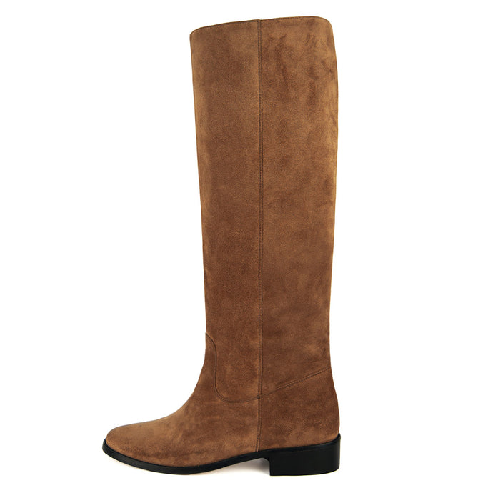 Dalia suede, cognac - wide calf boots, large fit boots, calf fitting boots, narrow calf boots