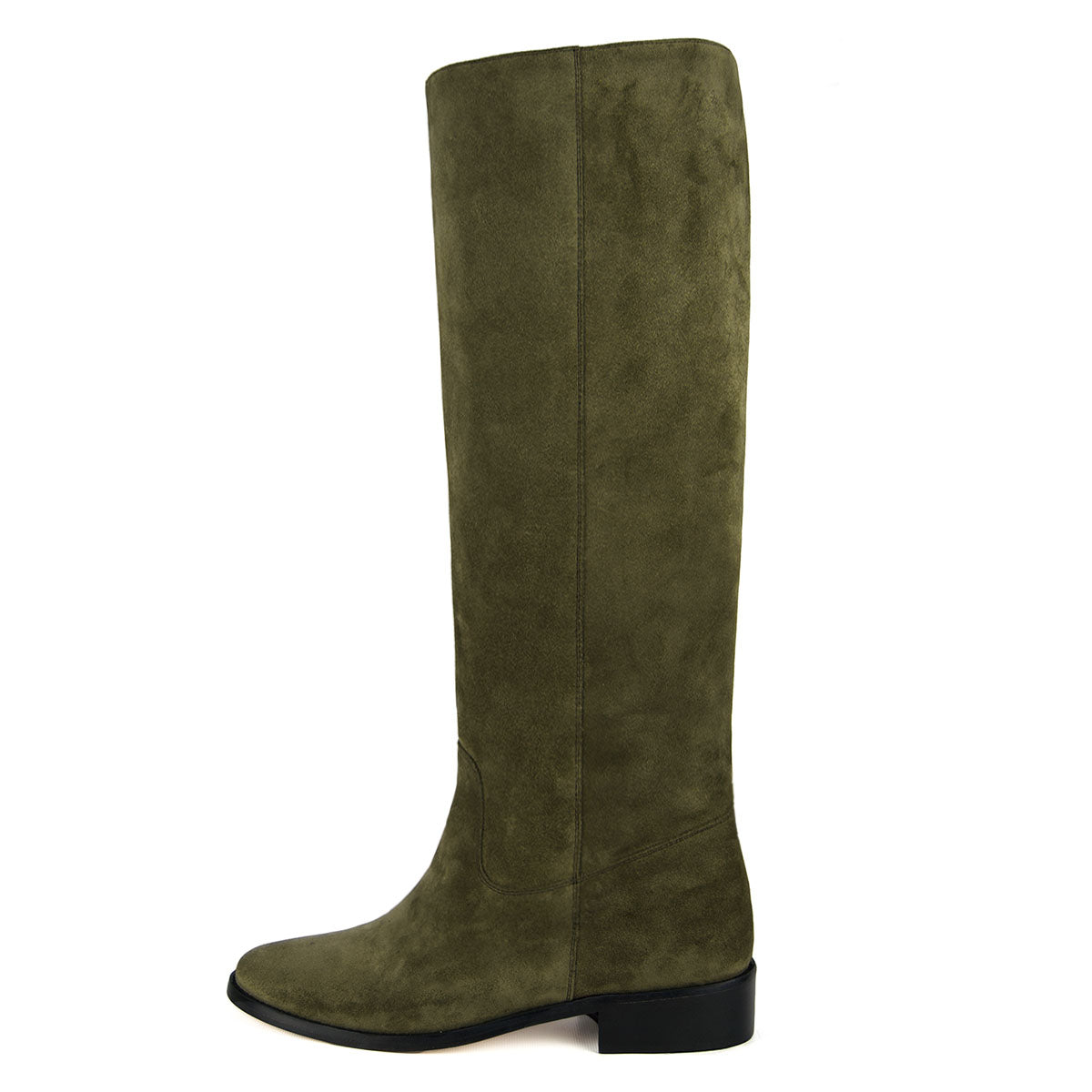 Dalia suede, olive green - wide calf boots, large fit boots, calf fitting boots, narrow calf boots