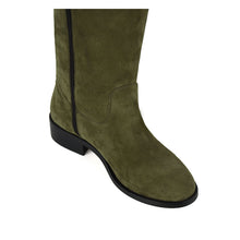 Spirea suede, olive green - wide calf boots, large fit boots, calf fitting boots, narrow calf boots