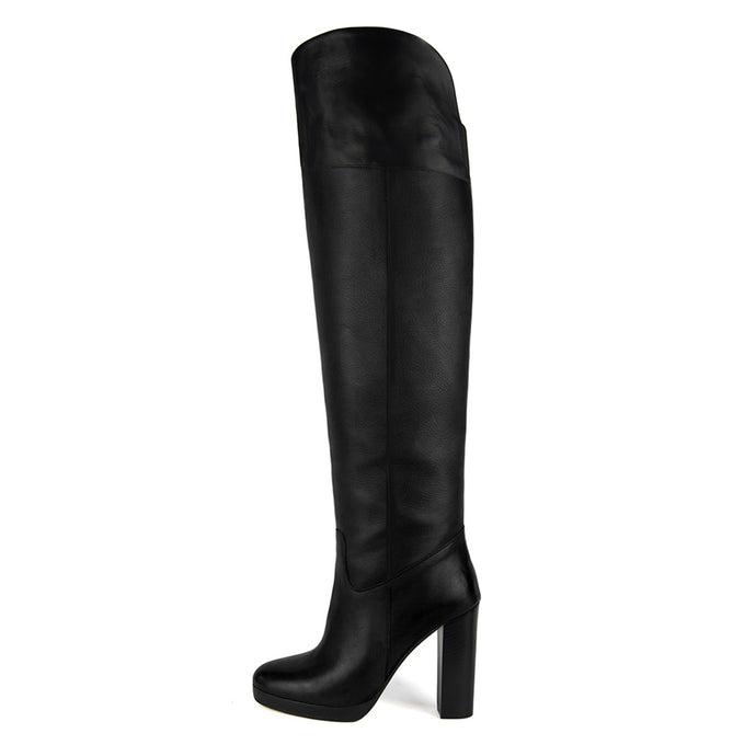 Narciso, black - wide calf boots, large fit boots, calf fitting boots, narrow calf boots