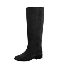 Achillea suede, black - wide calf boots, large fit boots, calf fitting boots, narrow calf boots