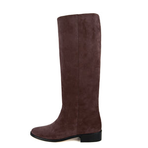 Achillea suede, dark brown - wide calf boots, large fit boots, calf fitting boots, narrow calf boots