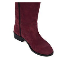 Achillea suede, burgundy - wide calf boots, large fit boots, calf fitting boots, narrow calf boots