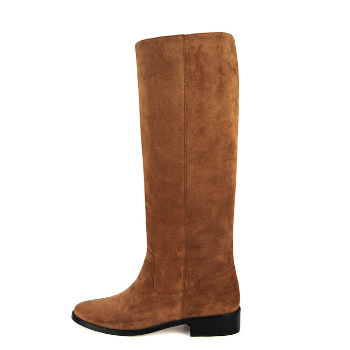 Achillea suede, cognac - wide calf boots, large fit boots, calf fitting boots, narrow calf boots