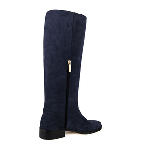 Achillea suede, night blue - wide calf boots, large fit boots, calf fitting boots, narrow calf boots