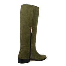 Achillea suede, olive green - wide calf boots, large fit boots, calf fitting boots, narrow calf boots