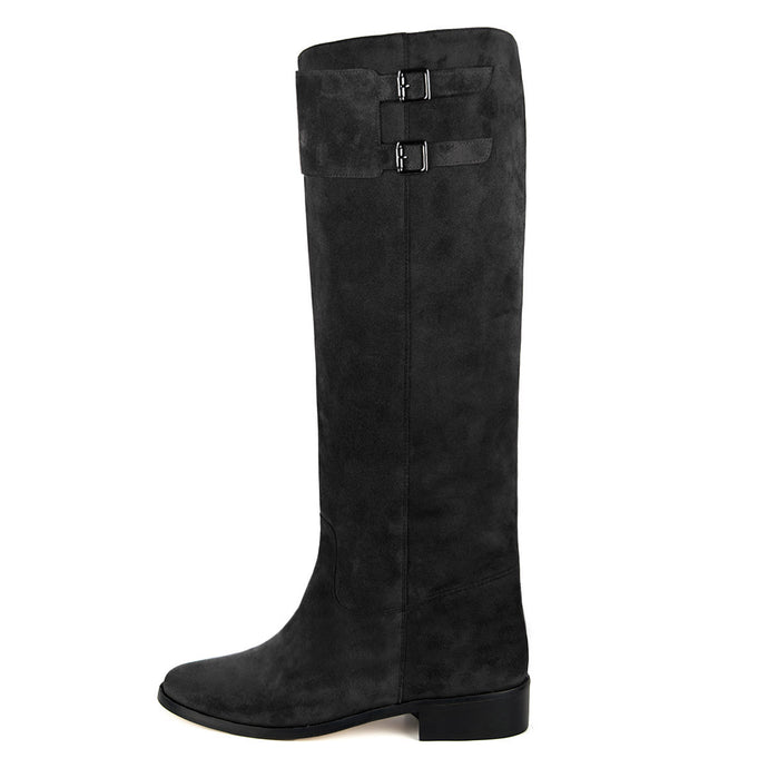 Spirea suede, black - wide calf boots, large fit boots, calf fitting boots, narrow calf boots