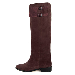 Spirea suede, burgundy - wide calf boots, large fit boots, calf fitting boots, narrow calf boots