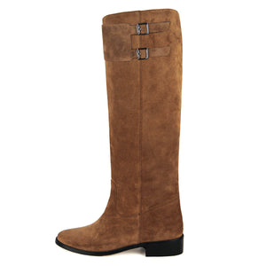 Spirea suede, cognac - wide calf boots, large fit boots, calf fitting boots, narrow calf boots