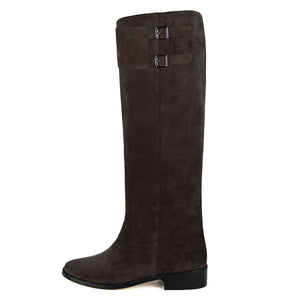 Spirea suede, dark brown - wide calf boots, large fit boots, calf fitting boots, narrow calf boots