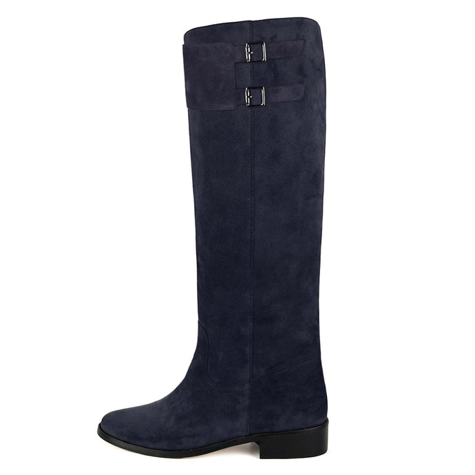 Spirea suede, night blue - wide calf boots, large fit boots, calf fitting boots, narrow calf boots