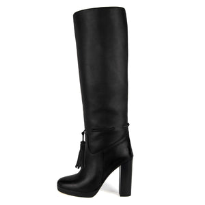 Trillium, black - wide calf boots, large fit boots, calf fitting boots, narrow calf boots