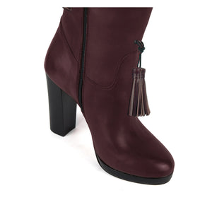 Trillium, burgundy - wide calf boots, large fit boots, calf fitting boots, narrow calf boots