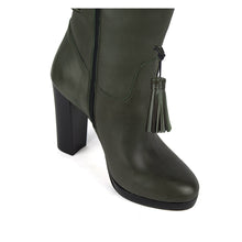 Trillium, olive green - wide calf boots, large fit boots, calf fitting boots, narrow calf boots