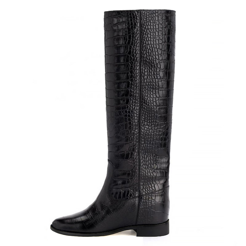 Victoria, black - wide calf boots, large fit boots, calf fitting boots, narrow calf boots