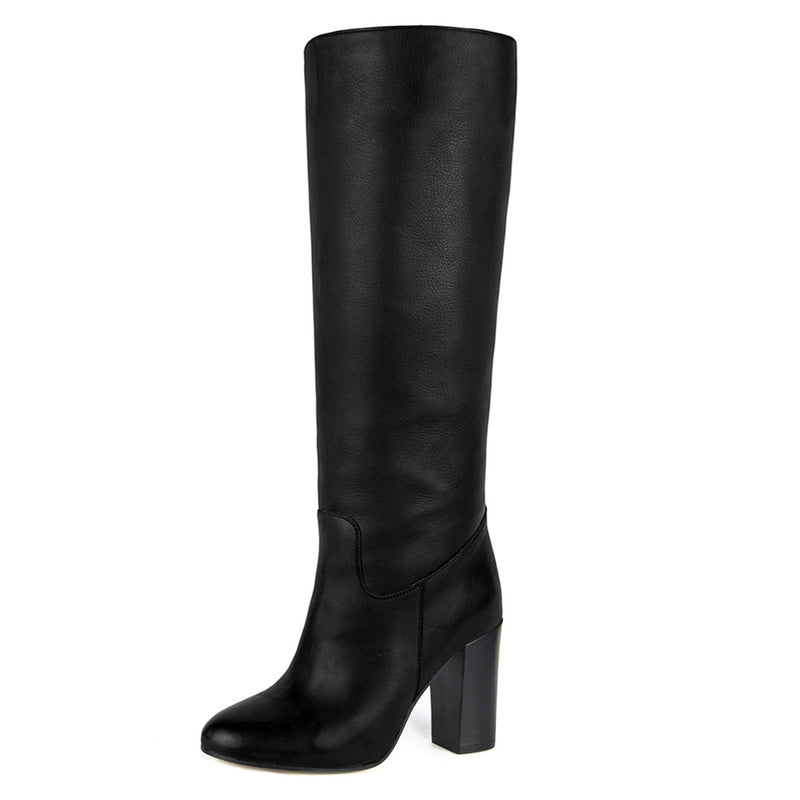 Cosmea, black - wide calf boots, large fit boots, calf fitting boots, narrow calf boots