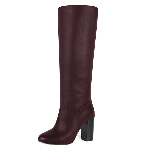 Cosmea, burgundy - wide calf boots, large fit boots, calf fitting boots, narrow calf boots