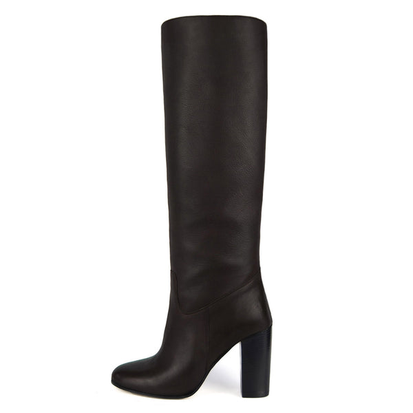 Cosmea, dark brown - wide calf boots, large fit boots, calf fitting boots, narrow calf boots
