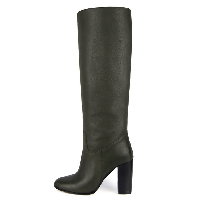 Cosmea, olive green - wide calf boots, large fit boots, calf fitting boots, narrow calf boots