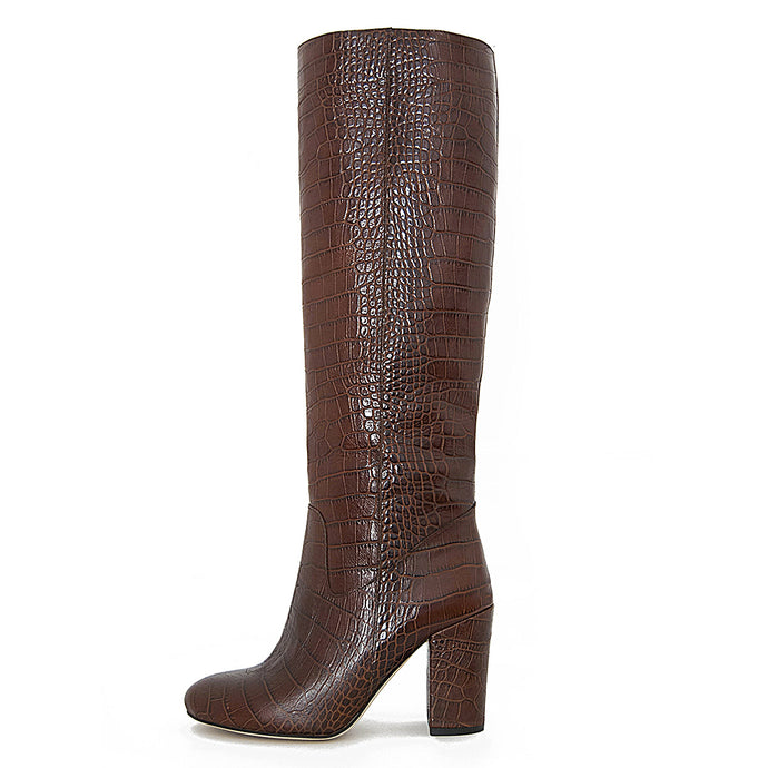 Croco, brown - wide calf boots, large fit boots, calf fitting boots, narrow calf boots